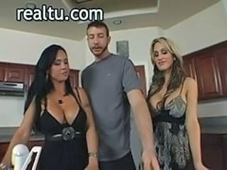 Amazing Big Tits Kitchen MILF Threesome