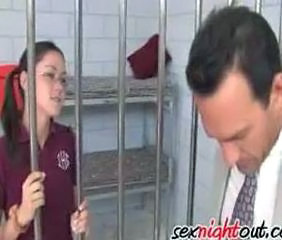 In the middle of class cops stormed in and arrested Kandi Milan. Her teacher Mr Pokerpoon gets her naked and fucks her innocent body in the jailcell.