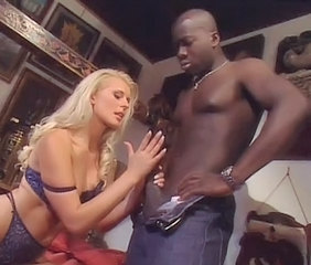 Young blonde woman with black guy