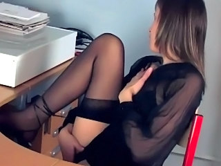 Brunette Office Stockings