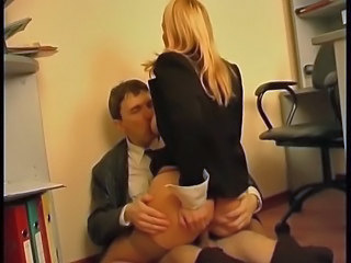 Blonde Office Riding Secretary Stockings