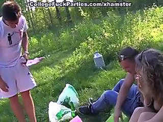 Outdoor Student Threesome