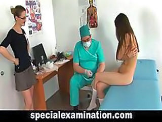 Brunette Bus Doctor Stockings Threesome