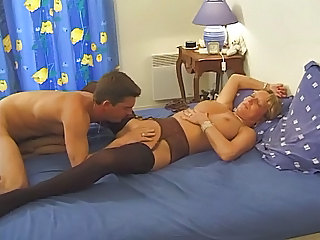 European French Licking Mature Mom Old and Young Stockings