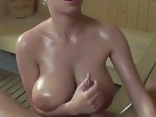 Big Tits Handjob Natural Oiled