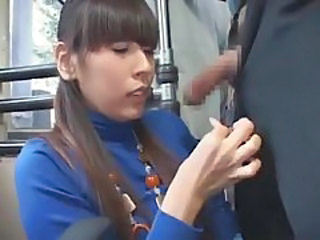 Japanese girl in turtleneck has oral on bus tubes