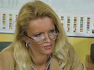 Amazing Blonde Glasses MILF Office
