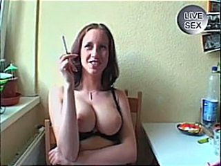 Horny amateur german slut opens sweet pussy in solo teasing