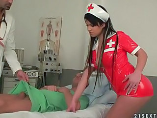 Sexy nurse Imogene gets enjoys hot DP...