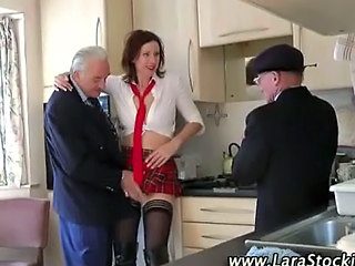 British European Kitchen Mature MILF Old and Young Stockings Threesome Uniform