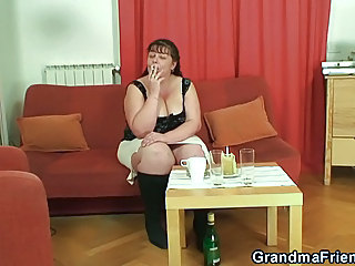BBW Big Tits Drunk Mature Smoking