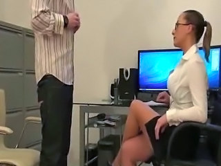 Mistress interviewing slave in the office