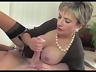 Amazing Big Tits Handjob MILF Stockings