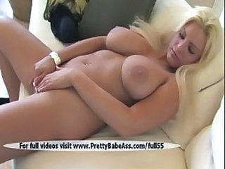 Super sexy blonde shows breasts and pussy