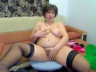 Chubby Hairy Masturbating MILF Natural SaggyTits Stockings Webcam
