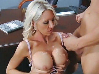 Amazing Big Tits Cumshot MILF Nipples Office Secretary