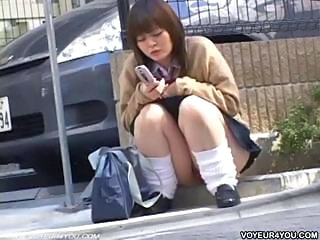Asian Japanese Outdoor Public Teen Upskirt Voyeur