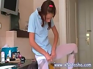 Kitchen Pantyhose Pigtail Russian Skinny Teen