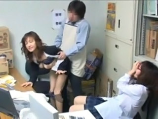 Asian Clothed Japanese MILF Office Teen Threesome