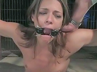 Sweet babe tied in a cage fucked