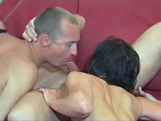 Petite brunette and toned dude suck mustachioed dude&#039,s dick together, then fucks