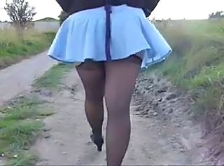 Amateur Outdoor Skirt Stockings Wife