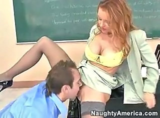 Amazing Clothed Licking MILF School Stockings Teacher