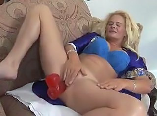 Big Tits Blonde Extreme Masturbating MILF Toy
