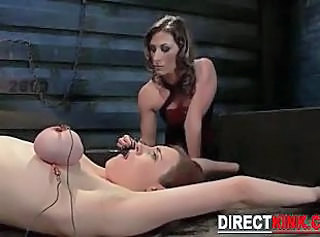Busty Brunette In Tight Rope Bondage