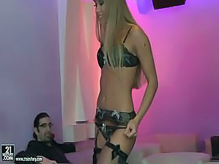 Strip Chick Serves Two Clients