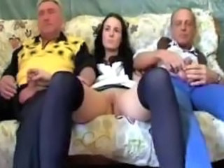 Brunette Old and Young Stockings Threesome