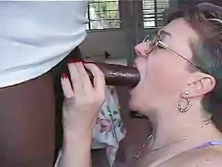 Blowjob Glasses Granny Interracial