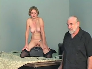 Short-haired b-cup blonde lowers her pussy onto...