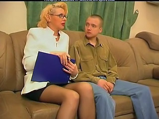 Blonde Glasses Mature Russian Stockings