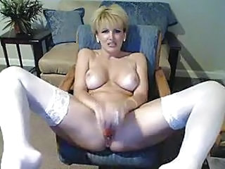 Blonde Masturbating MILF Solo Stockings Webcam