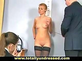 Embarassing nude job interview for shy secretary