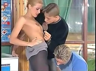 Blonde Pantyhose Skinny Teen Threesome