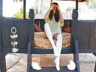Cute Outdoor Panty Stockings Teen