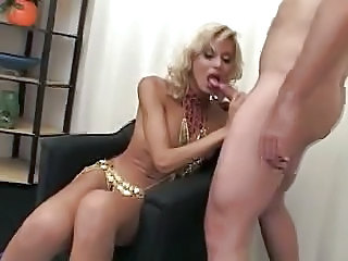 Blonde Blowjob MILF Shemale