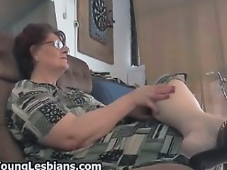 Two sexy lesbian girls seducing this old part3