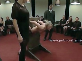 Sex slave is bound tight in middle of public room and...