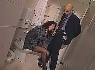 Blowjob Clothed MILF Stockings Toilet
