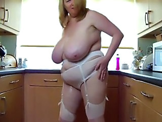 sexy bbw mature play with her big boobs in kitchen