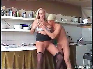 Big Tits Blonde Kitchen MILF Stockings