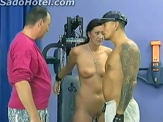 Hot Brunette Girl With Great Body Got Metal Clamps O...