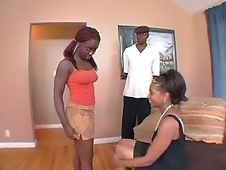 Ebony Mom Teen Threesome