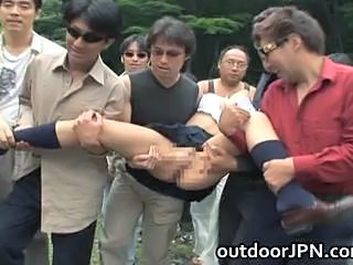 Asian Gangbang Outdoor