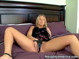 Blonde Lingerie Long hair Masturbating Teen