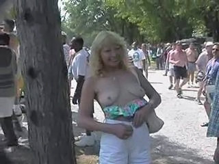 Mature Outdoor Public SaggyTits Stripper