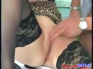 Close up German MILF Pussy Secretary Shaved Stockings